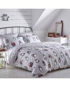 Snow Penguins Duvet Cover Set - Grey