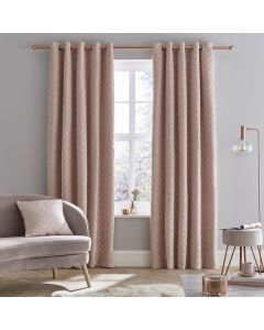 Catherine Lansfield So Soft Luxe Eyelet Curtains - Blush