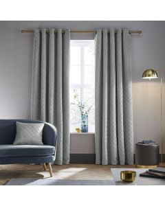 Catherine Lansfield So Soft Luxe Eyelet Curtains - Silver