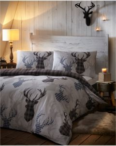 Tartan Stag Duvet Cover Sets - Grey