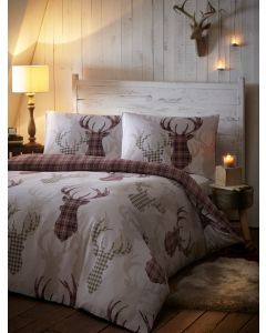 Tartan Stag Duvet Cover Sets - Natural