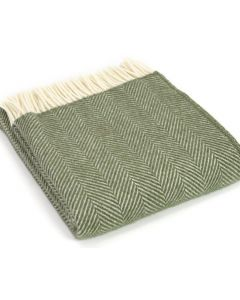 All Wool Fishbone Throw - Olive - 150x183cm