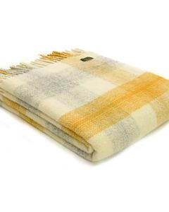 All Wool Meadow Check Throw - Yellow - 150x183cm