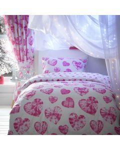 Tie Dye Hearts Bedding Set - Pink