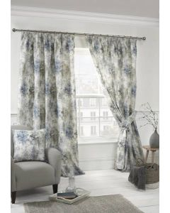 Woodland Pencil Pleat Curtains - Blue
