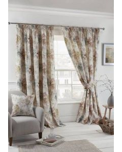 Woodland Pencil Pleat Curtains - Blush