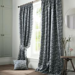 Bayford Jacquard Pencil Pleat Curtains Curtains - Ink