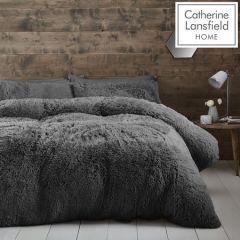 Catherine Lansfield Cuddly Charcoal Duvet Cover Set