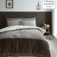 Catherine Lansfield So Soft Velvet Sherpa Duvet Cover Set - Natural
