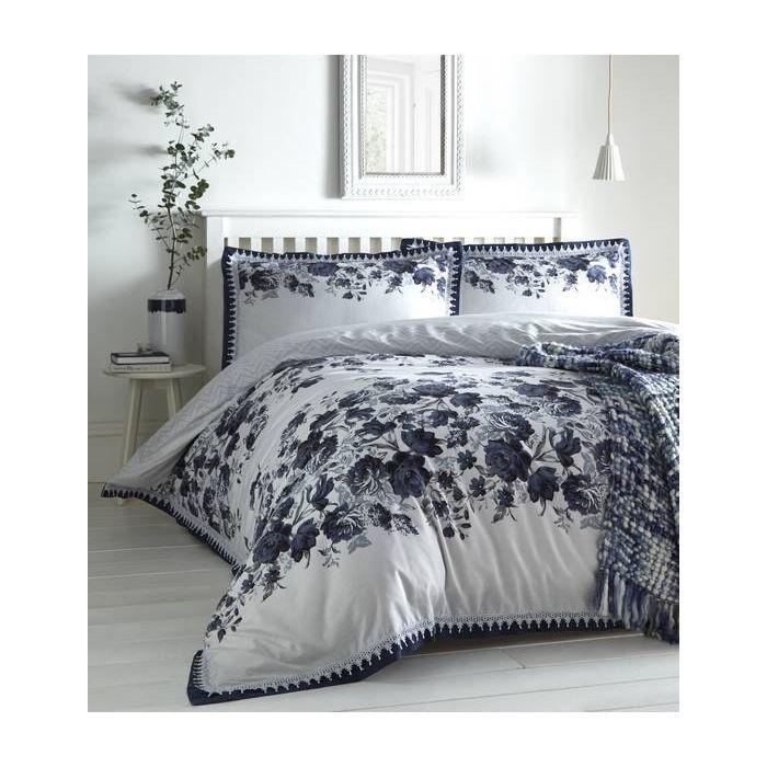 Compton Navy Fl King Size Duvet, Super King Bedding Set Blue