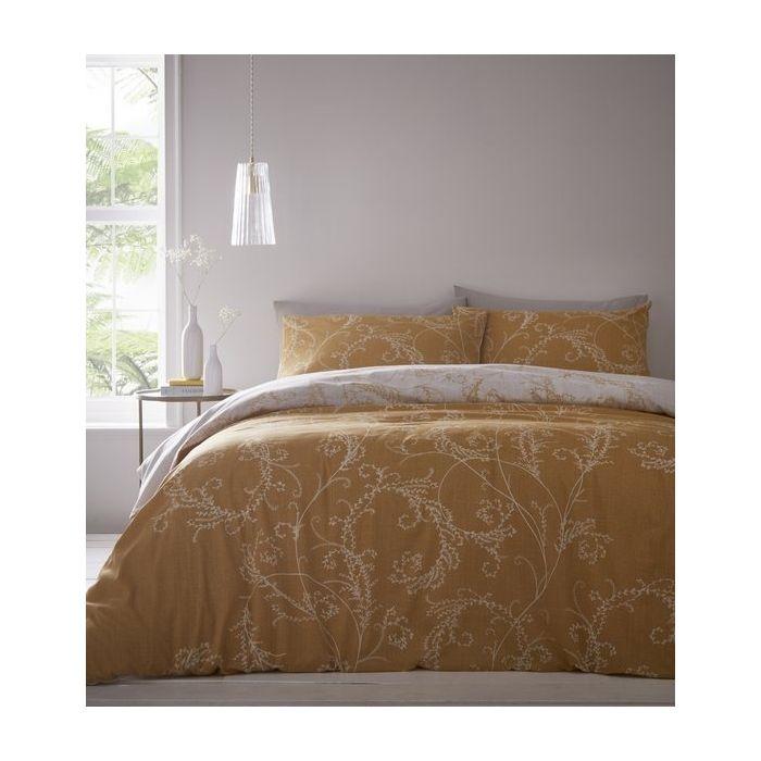 Cressida Ochre Traditional Bedding Duvet Cover Bed Set