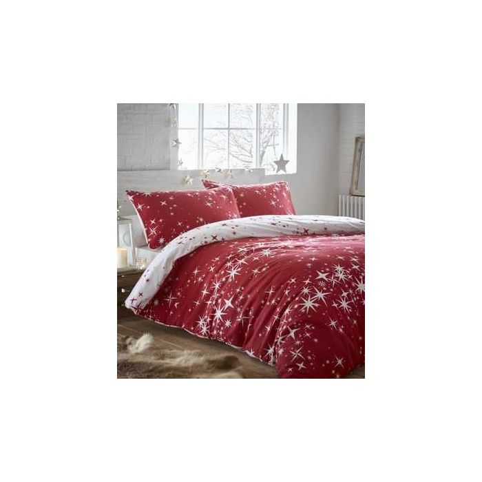 Galaxy Red 100 Cotton Flannelette Reversible Bedding Sets