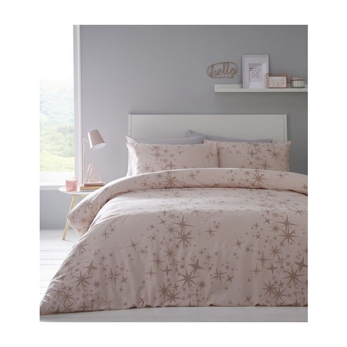 Glitter Stars Quilt Cover Bedding Bed, Pink And Rose Gold Bed Sheets