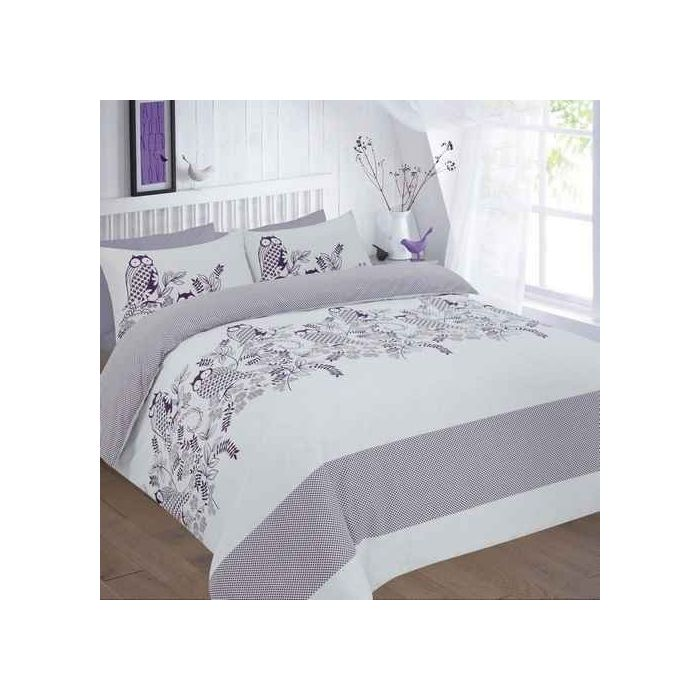 Owls Plum Bed Linen Set, White Bedding With Small Flowers