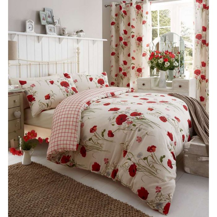 Poppy Duvet Cover Or Eyelet Curtains, Bedding Set With Curtains